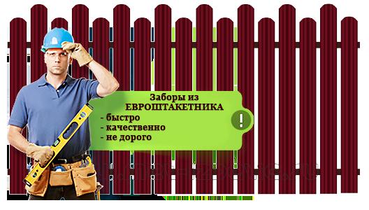 Заборы из ЕВРОШТАКЕТНИКА - Истра - Истринскоий район